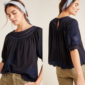 Anthropologie Floral Embroidered Modal Peasant Top